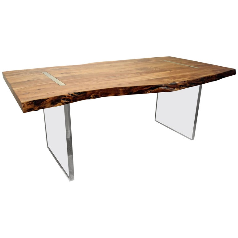 Modern Designer Studio Floating Top Acacia Wood and Lucite Dining Table