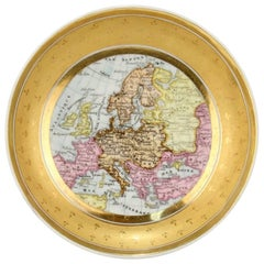 Antique 19th Century Paris Porcelain Cartographical Saucer with a European Map