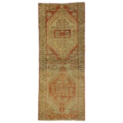 Vintage Turkish Oushak Accent Rug, Entry or Foyer Rug with Rustic Mission Style