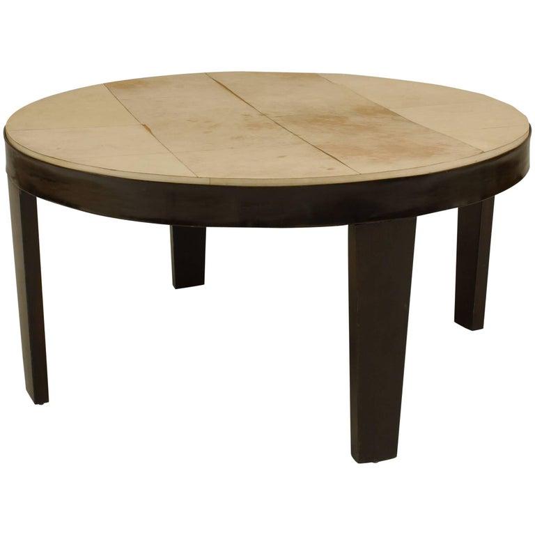 Italian 1950s Round Ebonized Coffee Table