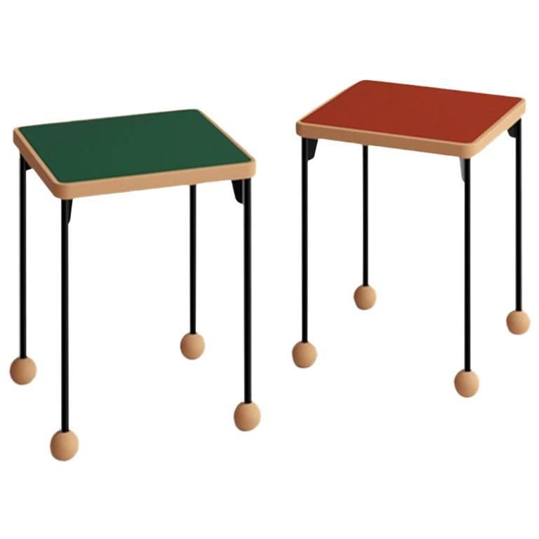 Contemporary Bauhaus Style Stool or Side Table in Metal, Wood, and Linoleum