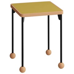 Contemporary Bauhaus Style Stool or Side Table in Metal and Wood