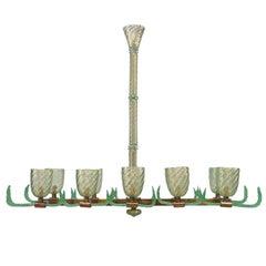 "Italian Murano ""Pulegoso"" Internal Bubbled Glass and Brass Ten-Light Chandelier"