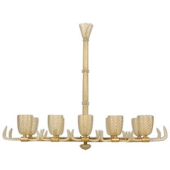 "Italian Murano Gold Dusted ""Pulegoso"" Bubbled Glass and Brass Chandeliers"