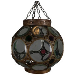 Large Aesthetic Movement Belchers School Bronzed and Jeweled Hanging Light