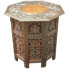 Anglo-Indian Early 20th Century Carved Teak Occasional Side Table