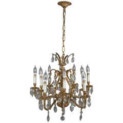 French Louis XV Style Gilt Bronze and Crystal Nine-Light Chandelier 20th Century