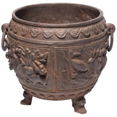 Large Chinese Cast Iron Urn with Heavy Relief