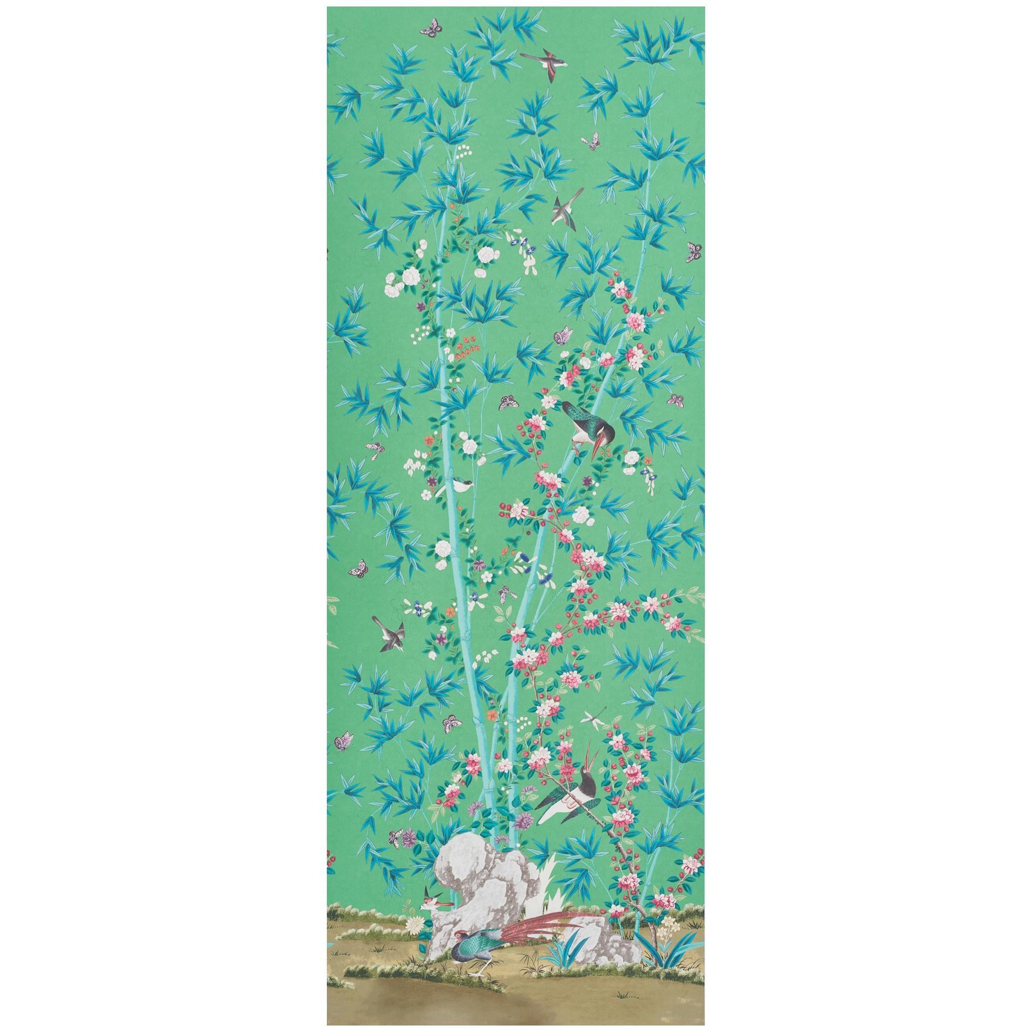 Schumacher Miles Redd Brighton Pavilion Chinoiserie Emerald Wallpaper Panel