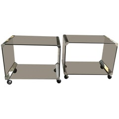 Italian Pair of Gallotti e Radice Carts with Smoked Glass and Chrome from 1970s