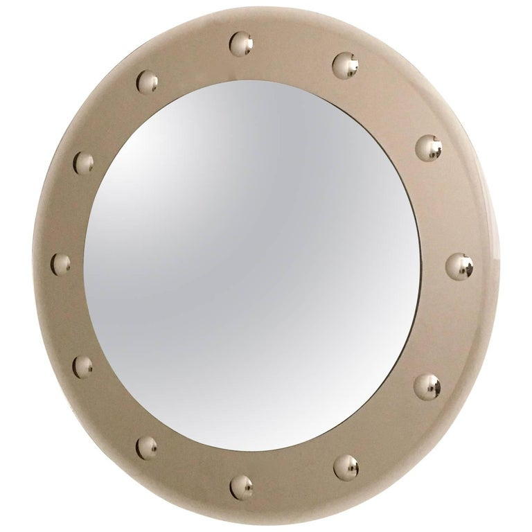 Wall Mirror in the Style of Cristal Art with a Bronze Beveled Glass Frame, 1960s