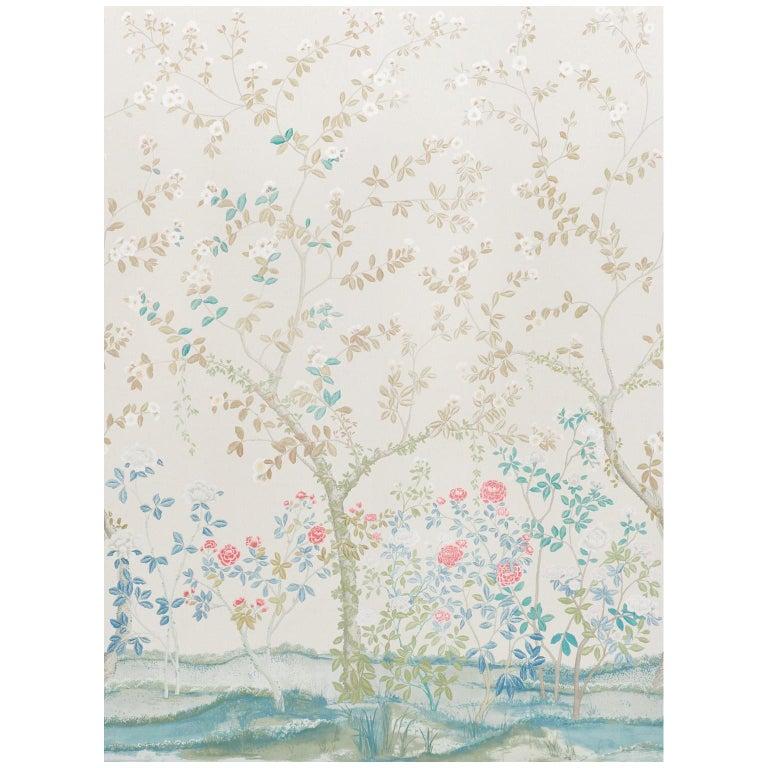 Schumacher Miles Redd Madame de Pompadour Alabaster Wallpaper Panel Unit For Sale