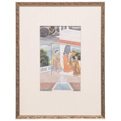 """Harem by the Sea"" 19th Century Indian Mughal Painting"
