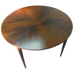 Midcentury Scandanavian Modern Rosewood Dining Room Table with Two Leaves