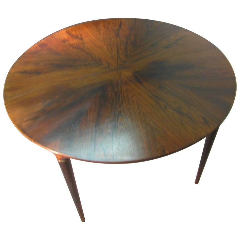 Midcentury Scandanavian Modern Rosewood Dining Room Table with Two Leaves For Sale