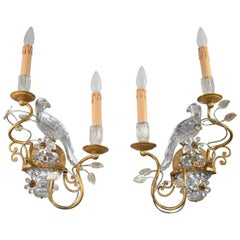 Pair of Crystal and Brass Parrot Wall Sconces in the Style of Maison Bagues