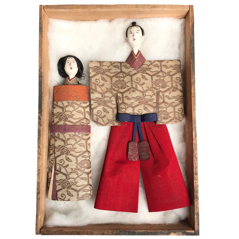 Japanese Imperial Couple Pair of Dolls, 1840 For Sale