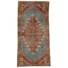 Distressed Vintage Turkish Oushak Rug with Artisan Style, Entry or Foyer Rug