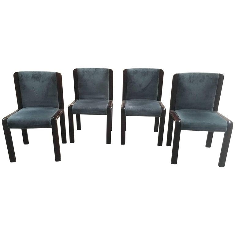 Italian Set of Mahogany Chairs Joe Colombo Style with Original Fabric from 1970s