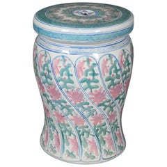 Chinese Hand-Painted Porcelain Garden Seat, Floral & Foliate Design 20th Century
