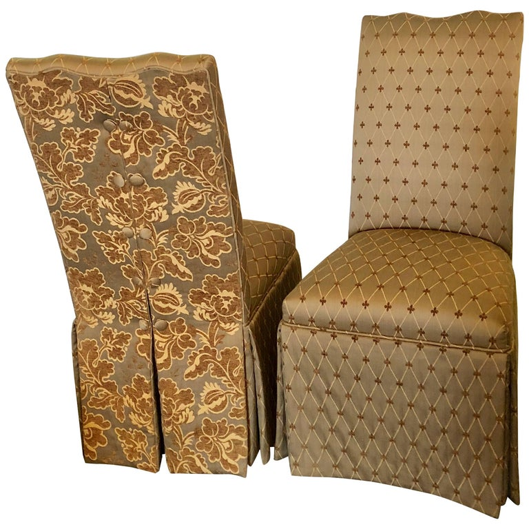 Pair of Hollywood Regency Style Side Chairs in Fine Custom Covered Upholstery