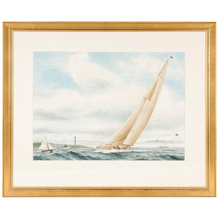 Racket Shreve Watercolor, Marblehead, Mass., Sailboat in a Regatta