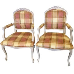 Pair of Burberry Inspired Custom Upholstered Louis XV Style Arm / Office Chairs