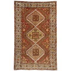 Vintage Turkish Oushak Accent Rug, Entry or Foyer Rug with Craftsman Style