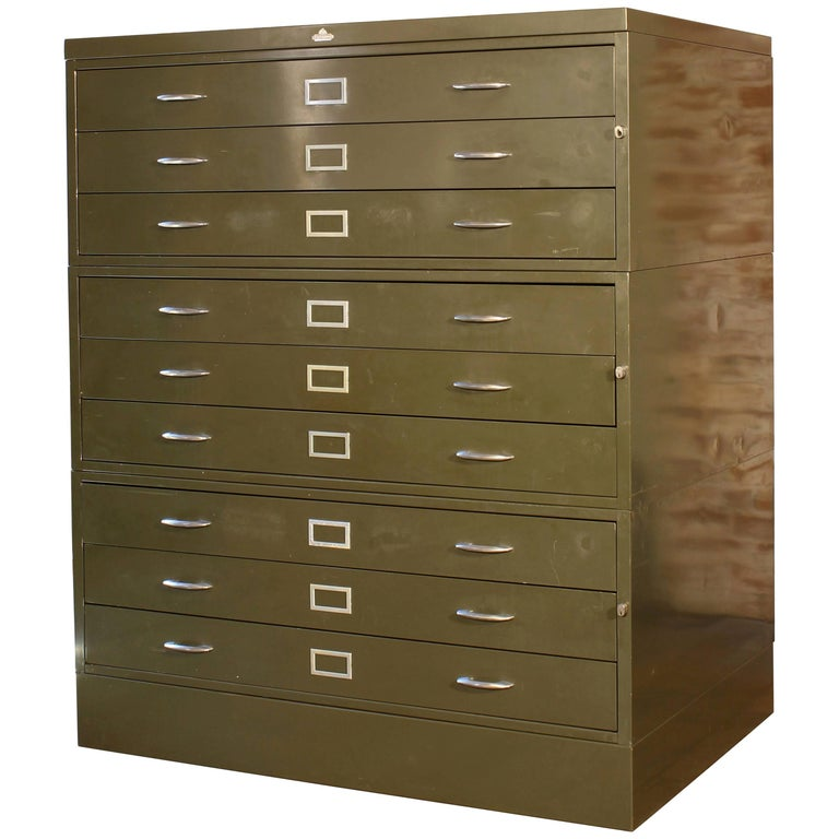 Vintage All-Steel Flat File Storage Cabinet For Sale