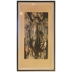 "Large Leonard Baskin Woodcut ""Angel of Death"""
