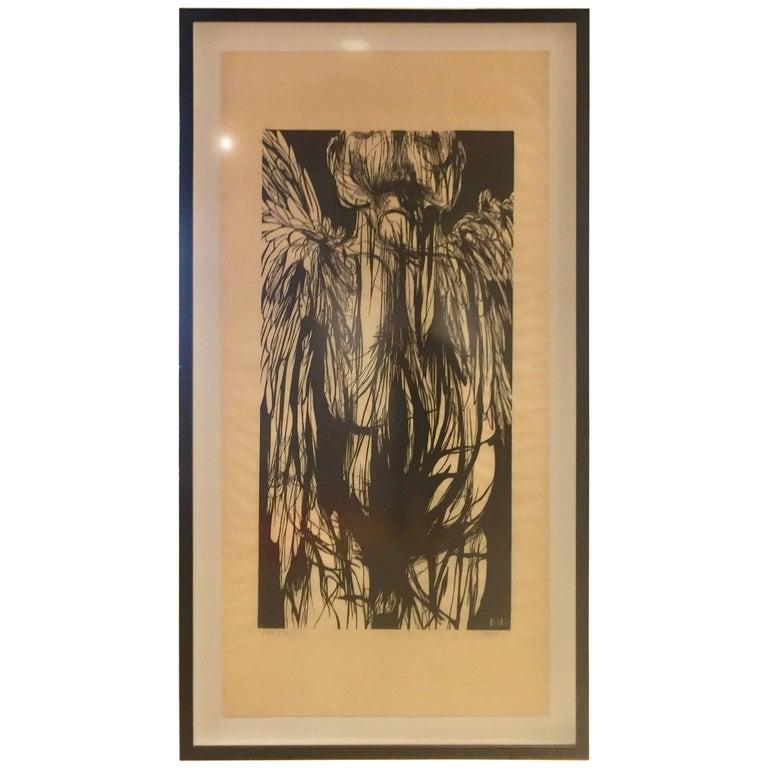 "Large Leonard Baskin Woodcut ""Angel of Death"""