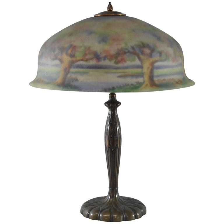 Antique Reverse Painted Pairpoint Lamp Artist Signed W. Macy Landscape Scene