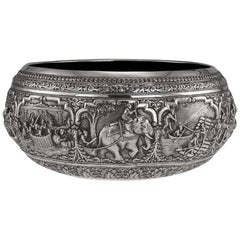 Antique Burmese Solid Silver Thabeik Bowl, Myanmar, Peacock Mark, circa 1890