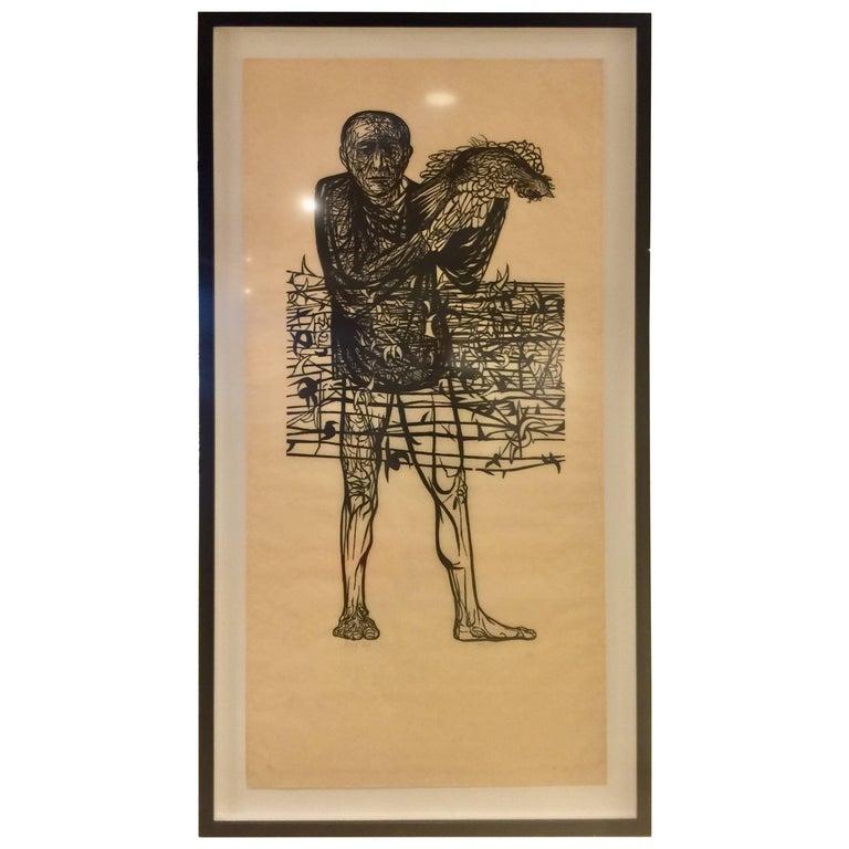 "Large Leonard Baskin Woodcut ""Man of Peace"""