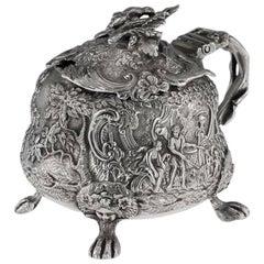 Antique Georgian Rare Solid Silver Mustard Pot, Edward Farrell, circa 1821