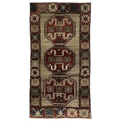 Vintage Turkish Oushak Accent Rug with Classic Medallion Pattern