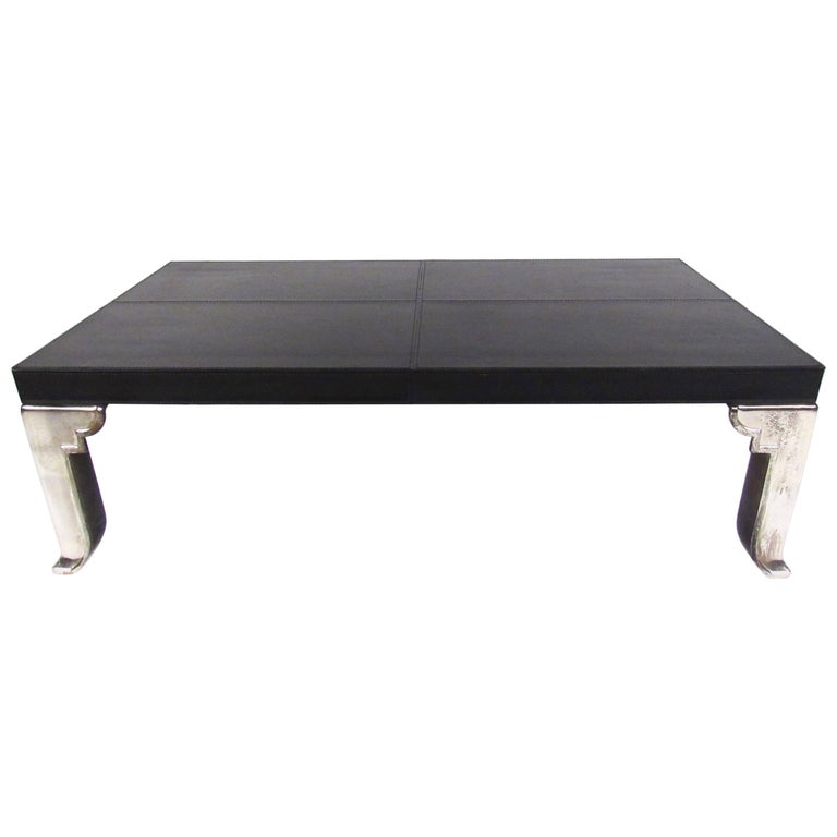 Contemporary Modern Leather Top Coffee Table