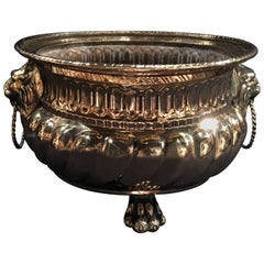 French Polished Brass Jardinière or Container with Lion Handles, 19th Century