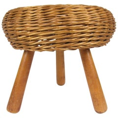 Tony Paul Mid-Century Modern Wicker Tripod Stool