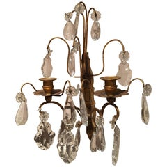 French Louis XVI Style Crystal and Brass Two Candle Sconce, 19th Century