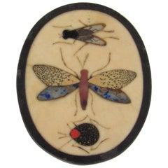 Miniature Italian Pietra Dura Insect Plaque