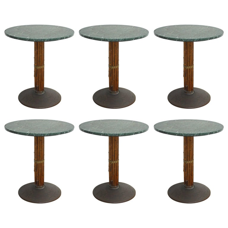 Set of Six McGuire Bamboo and Marble Bistro Tables For Sale