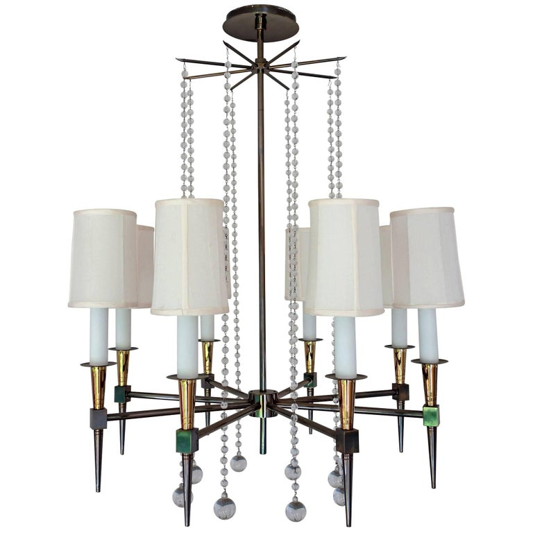 Midcentury Tommi Parzinger Eight-Arm Beaded Chandelier