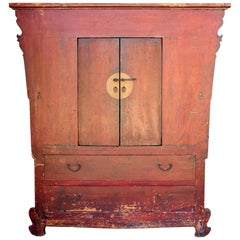 19th Century Red Crackle Cabinet, Northern Chinese