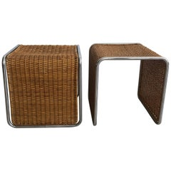 Pair of 1970s Mies van der Rohe Style Wicker and Chrome Tables/Stools