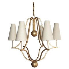 Large 'Corbeille' Gold Leaf Chandelier in the Style of Jean Royère