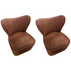 Pair of Woven Modern Leather Seat and Backrest Side Chairs in Brown