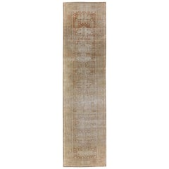 Long Distressed Antique Amritsar Runner in Nude, Taupe, Camel and Neutrals