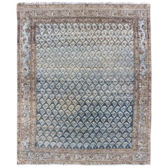 Blue-Toned Antique N.W. Persian Rug with All-Over Geometric Floral Design