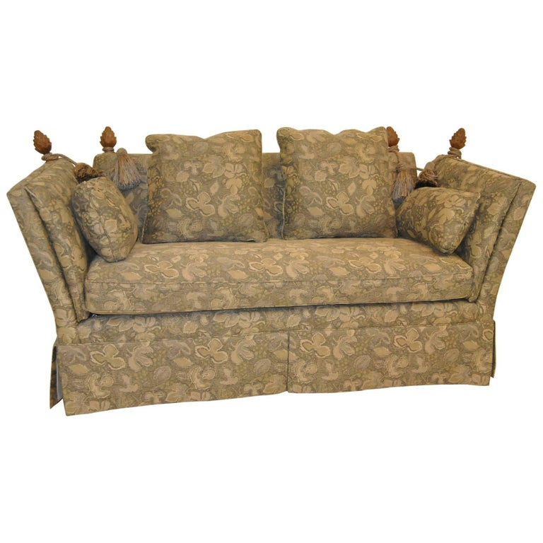 Knole Style Settee Loveseat with Carved Pineapple Finials by Baker Furniture